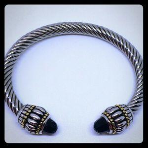 Silver & Gold Black Crystal Cable Bracelet